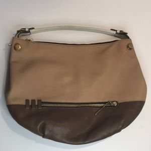 Dr Yany Brown Leather Color Block Shoulder Bag